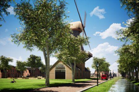 Artist impression van het nieuwe Vinkenterrein in Den Helder met molen